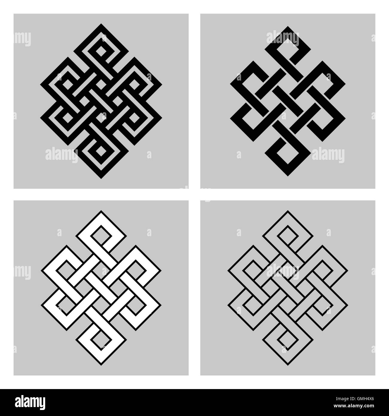 Four variants of the Endless Knot. Sacred symbol of the rebirth's concatenation in the Buddhism. Angular version. - Stock Vector