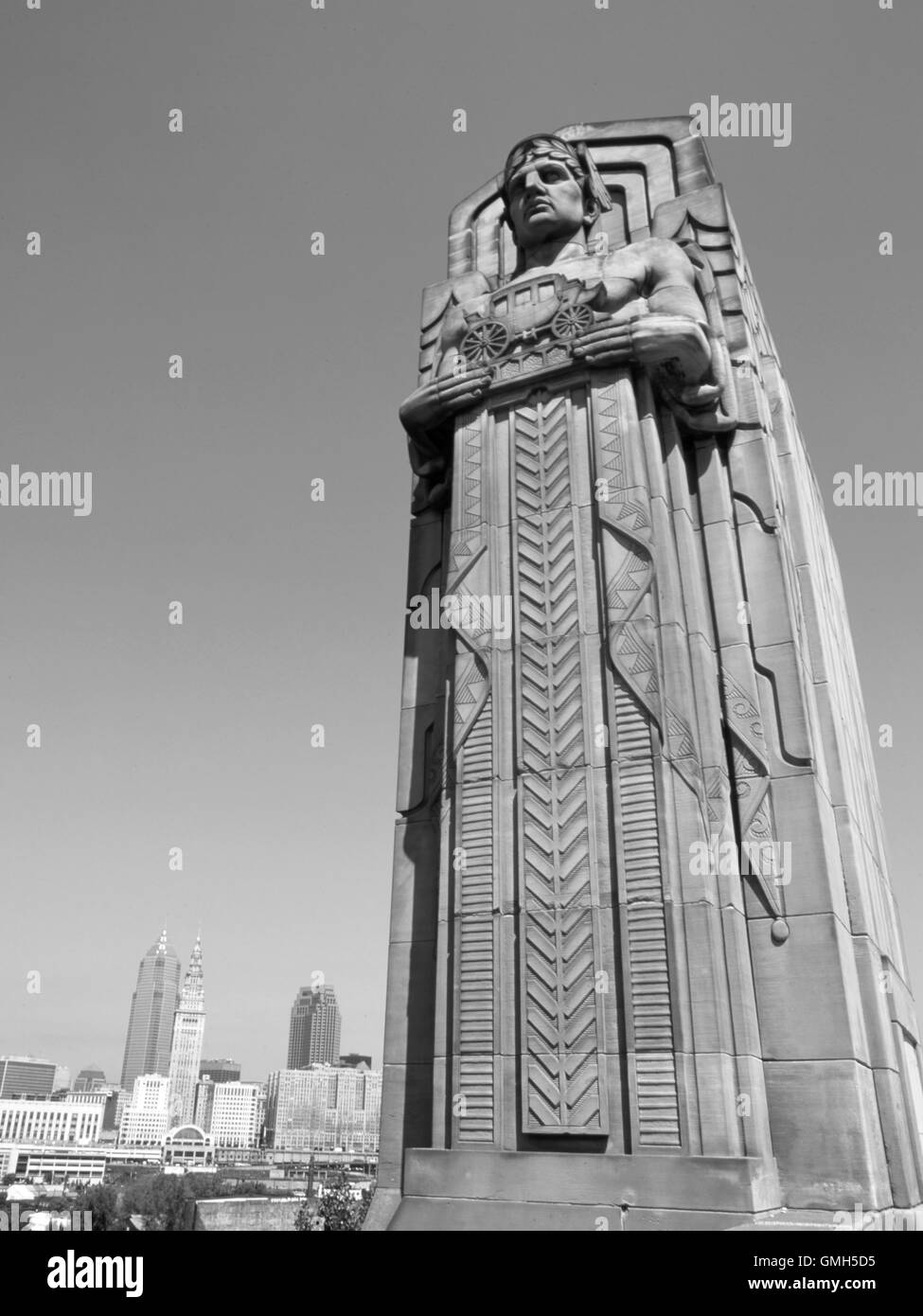 Gods of transportation on the Lorain Carnegie bridge - Stock Image