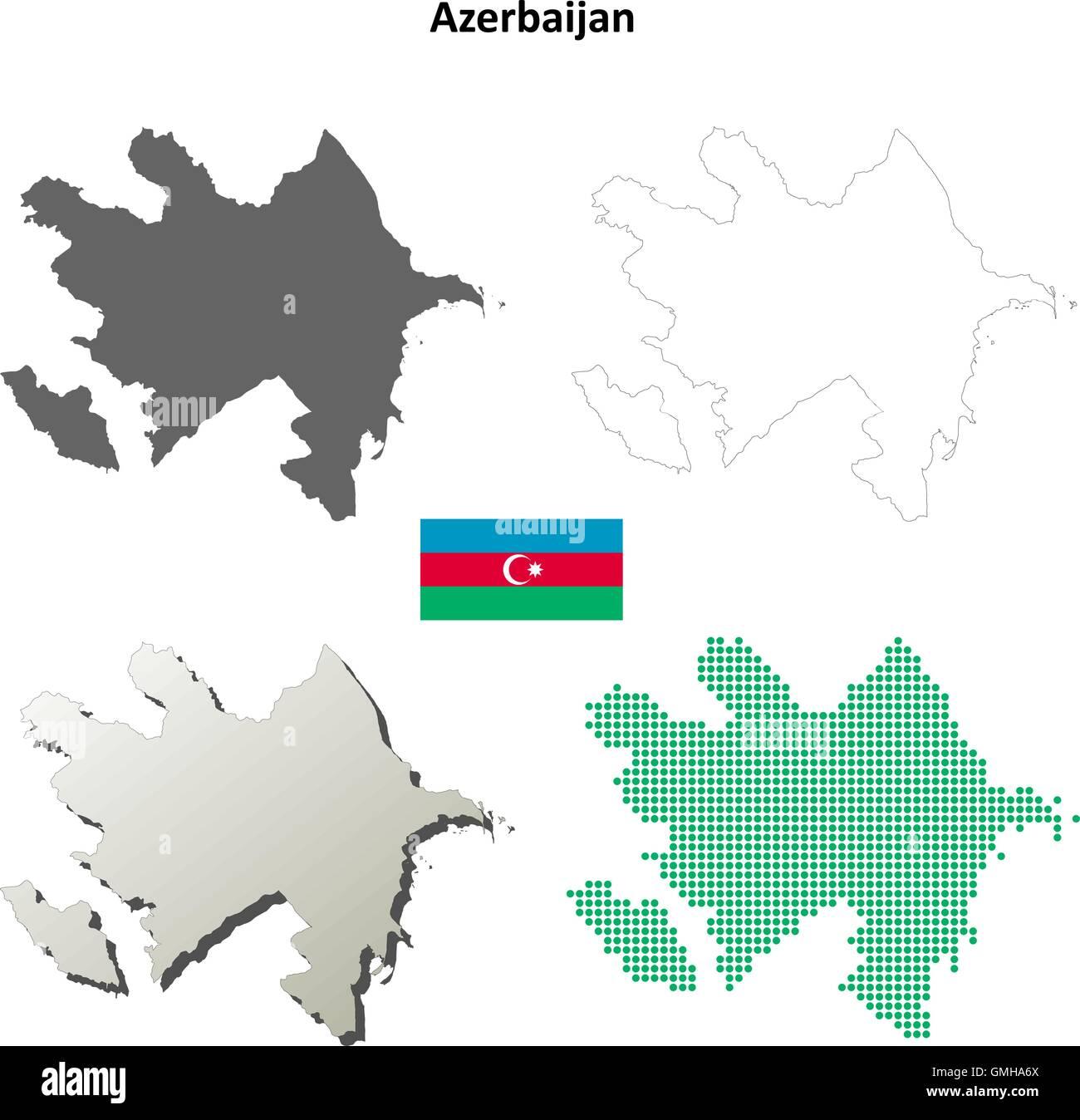 Azerbaijan outline map set - Stock Vector
