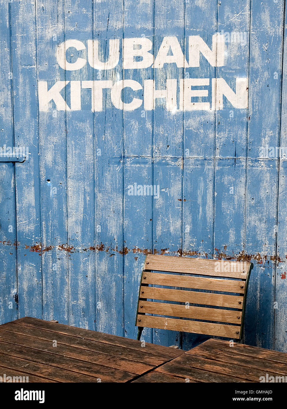 Weathered Wooden Door To U0027Cuban Kitchenu0027   Stock Image