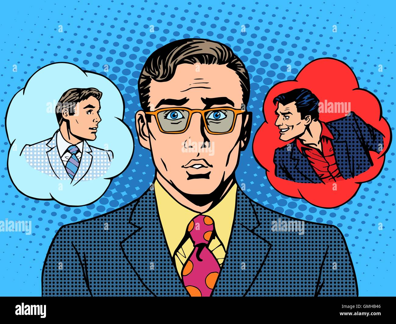 devil angel businessman choice between good and evil - Stock Vector