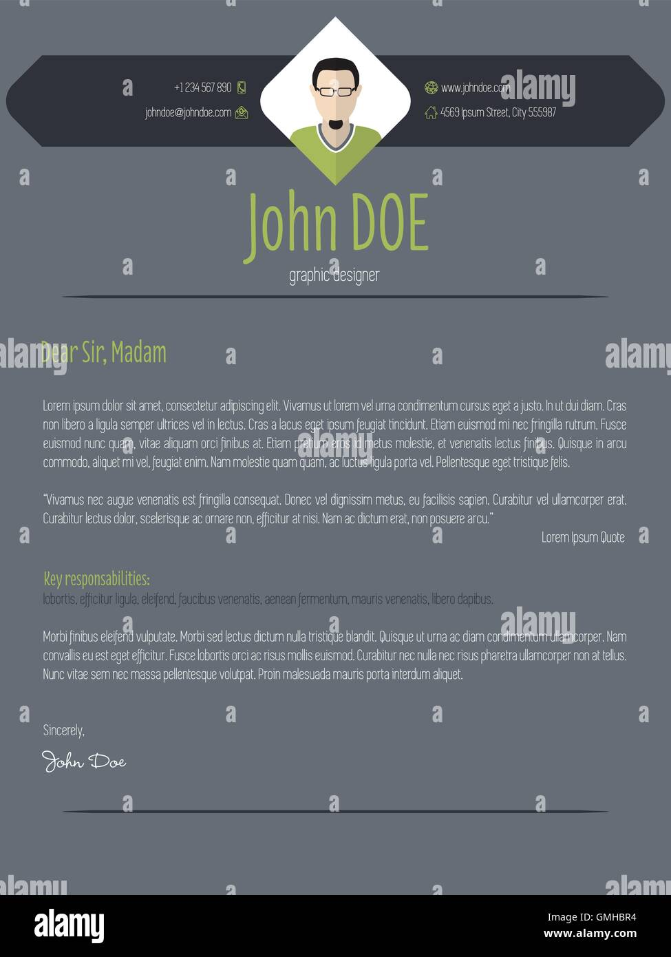 Cool Dark Cover Letter Resume Cv Template
