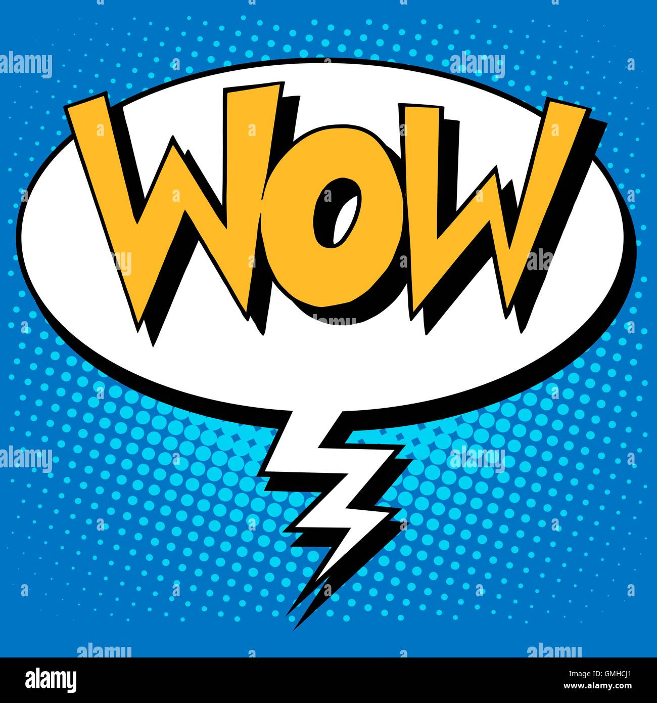 wow factor the inscription comic style - Stock Image