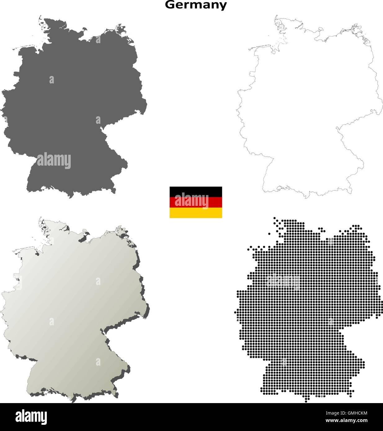 Germany outline map set - Stock Vector