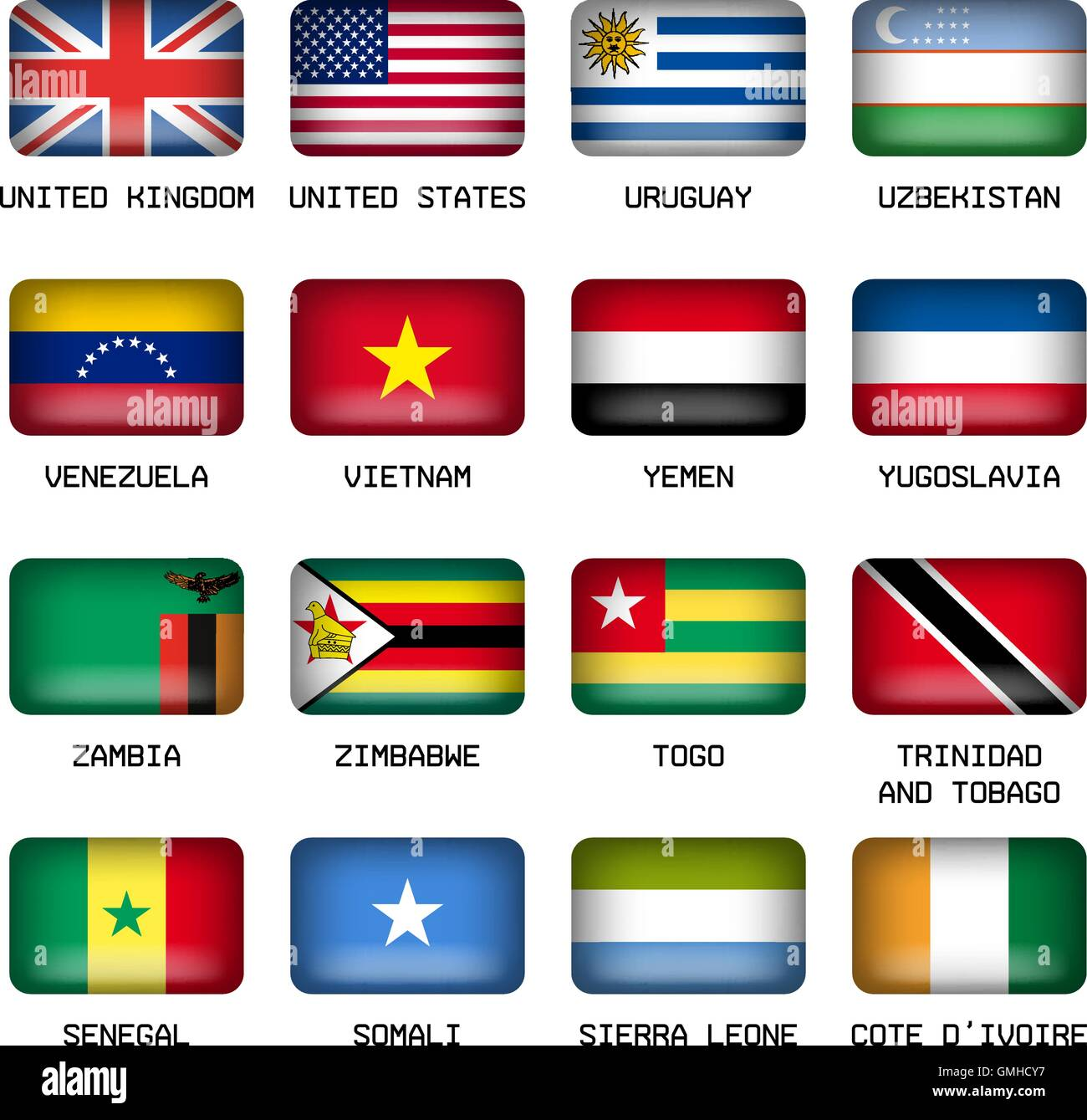 Set of Rectangle World Top States Flags - Stock Vector