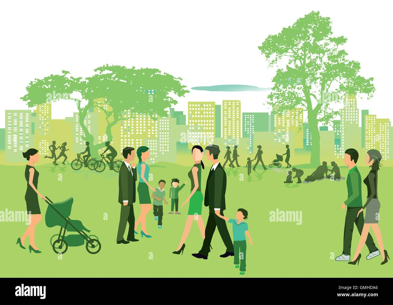 Summer in the park with people walking - Stock Vector