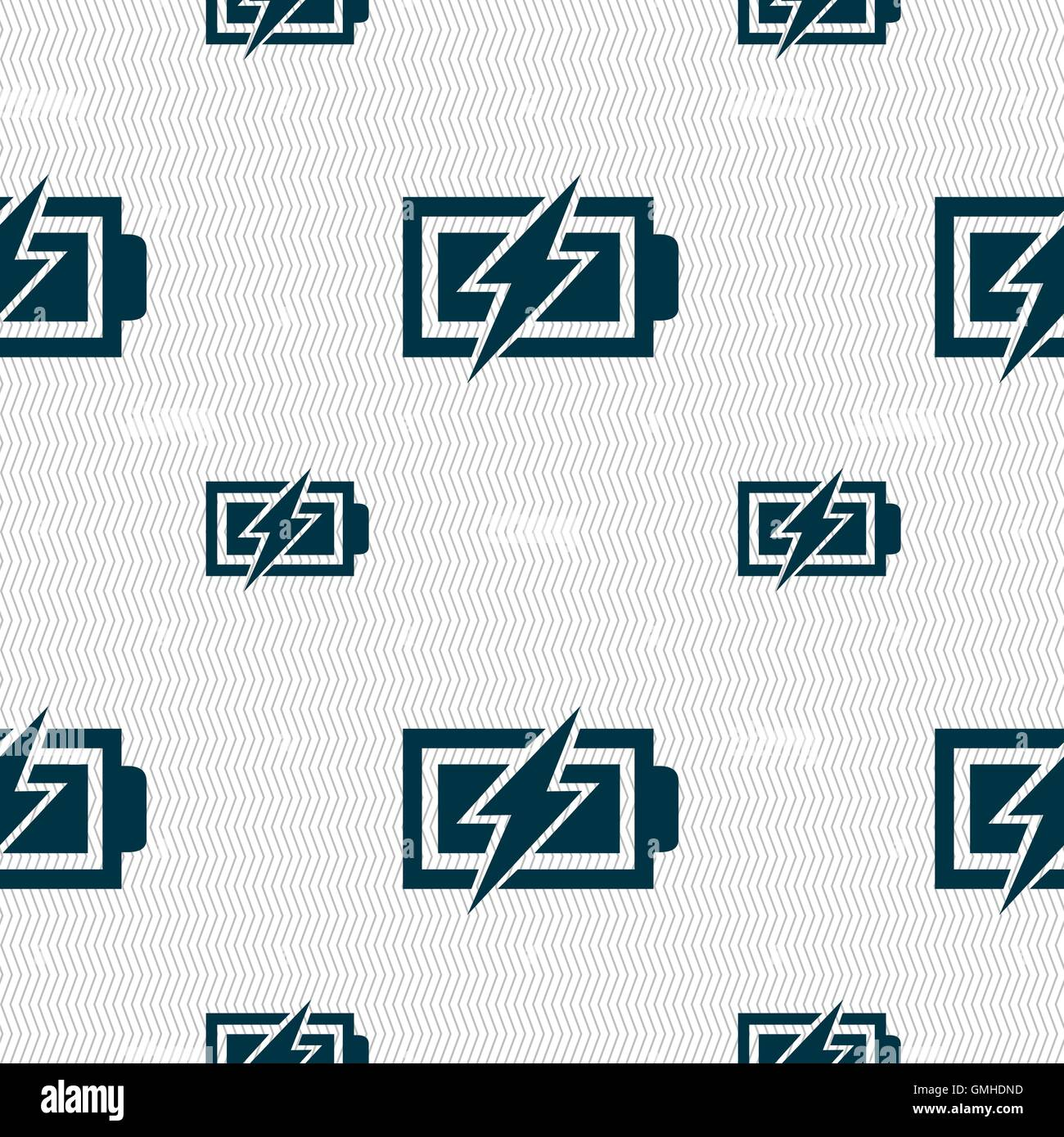 Battery charging sign icon. Lightning symbol. Seamless pattern with ...