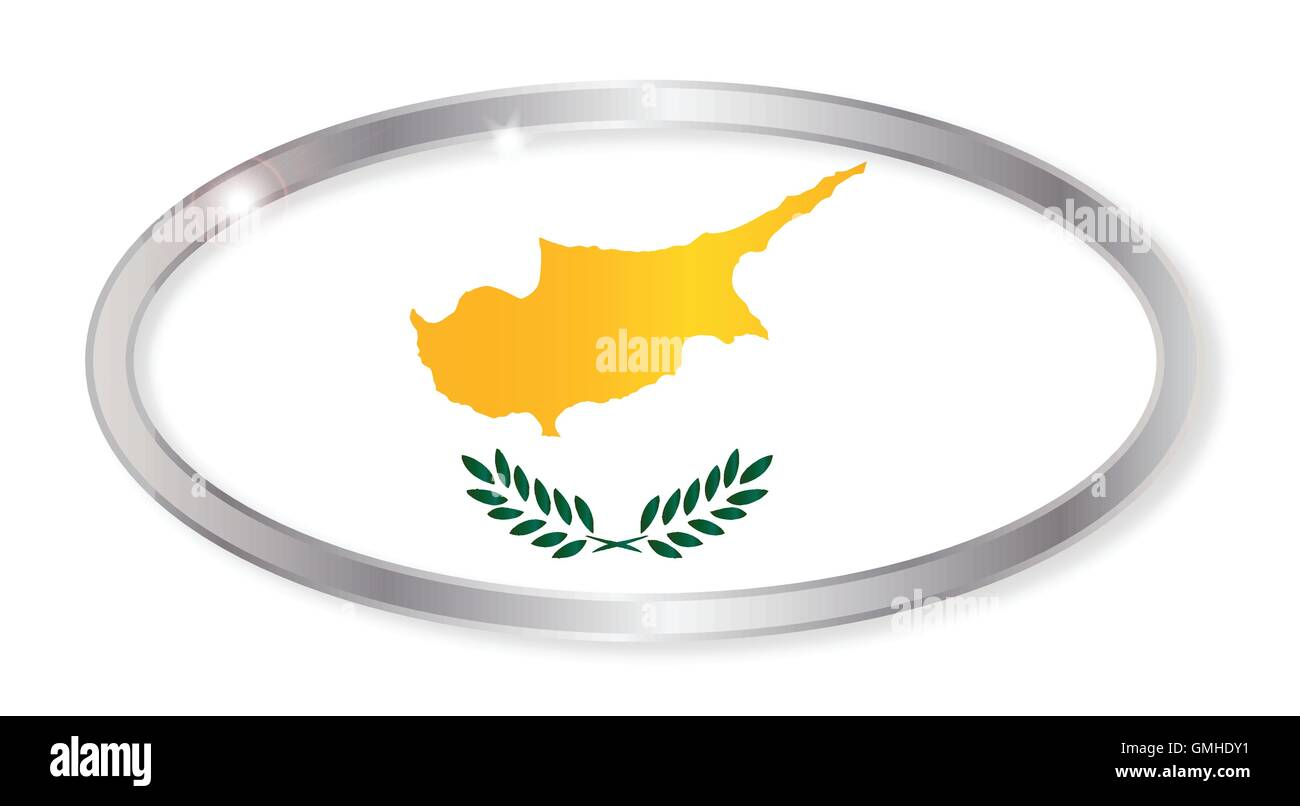 Cyprus Flag Oval Button - Stock Image