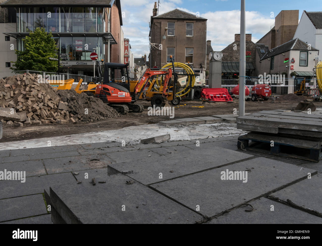 Public realm improvement works at Horsecross,Perth,Perthshire,Scotland,UK, - Stock Image