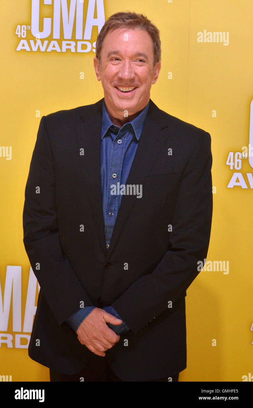 NASHVILLE, TN - NOVEMBER 1: Tim Allen on the Macy's Red Carpet at the 46th Annual CMA Awards at the Bridgestone - Stock Image