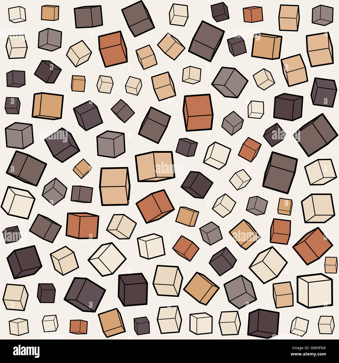 Vector Seamless Box Cube Random Scale Jumble Pattern - Stock Image