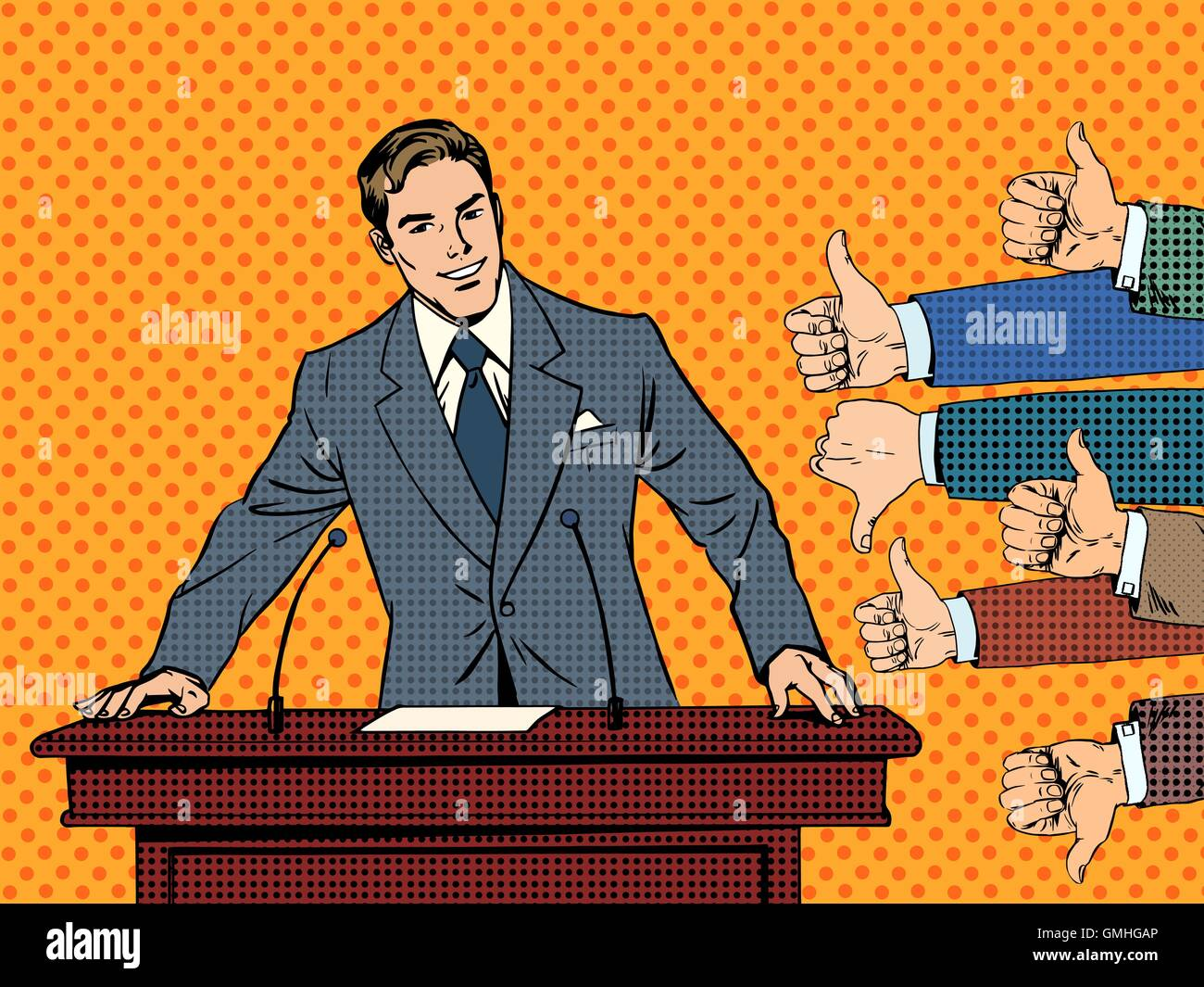 Businessman speaker business concept like dislike hands - Stock Vector