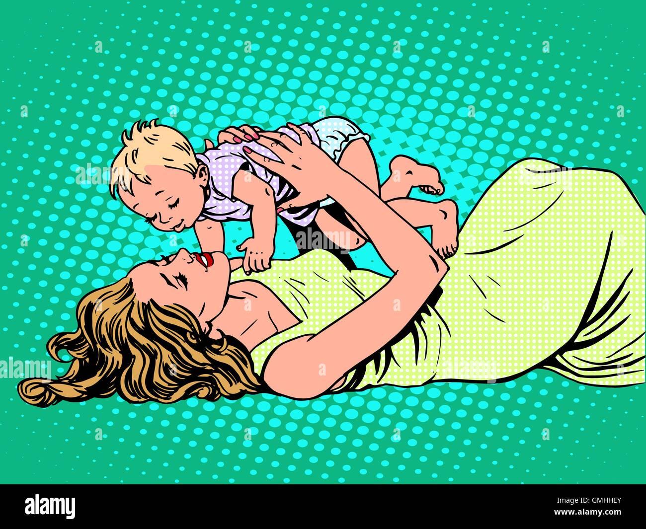 Mother child childhood motherhood happy - Stock Image