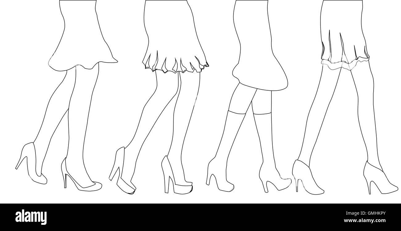 Female Leg Sketch - Stock Vector