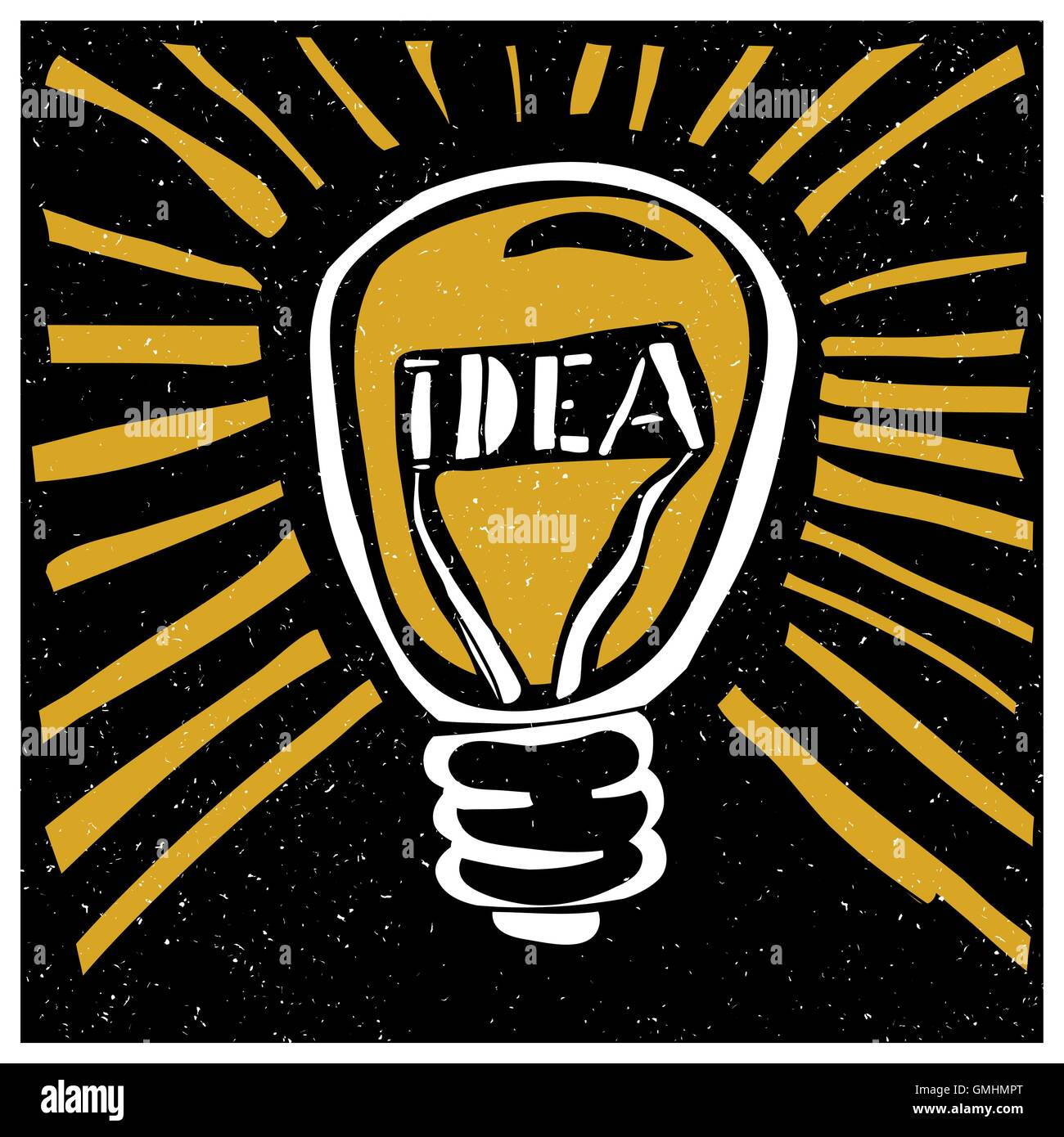Idea concept illustration. Lightbuld with rays and 'Idea' word. - Stock Image