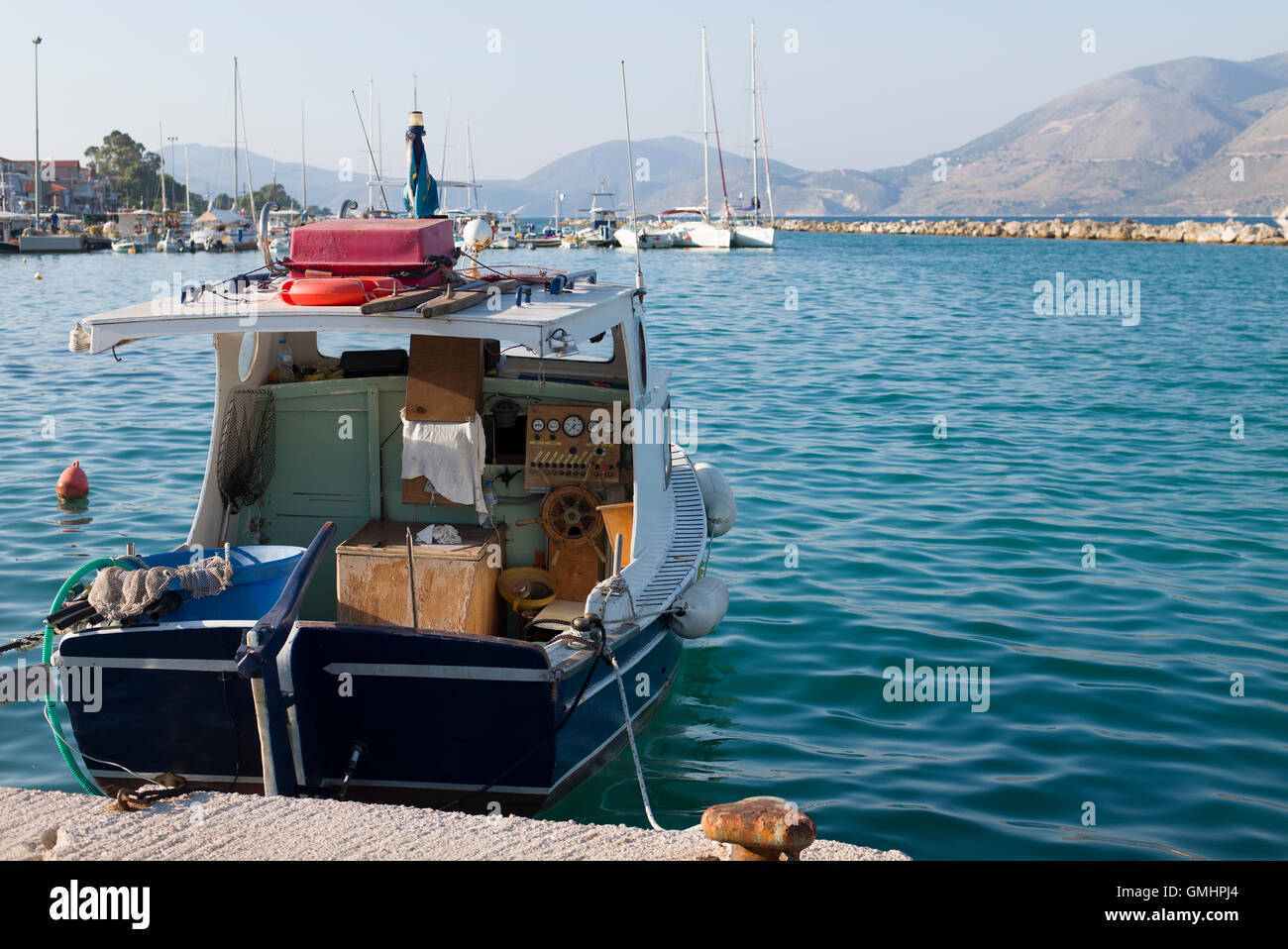 Lixouri fishing port, Kefalonia, Greece - Stock Image