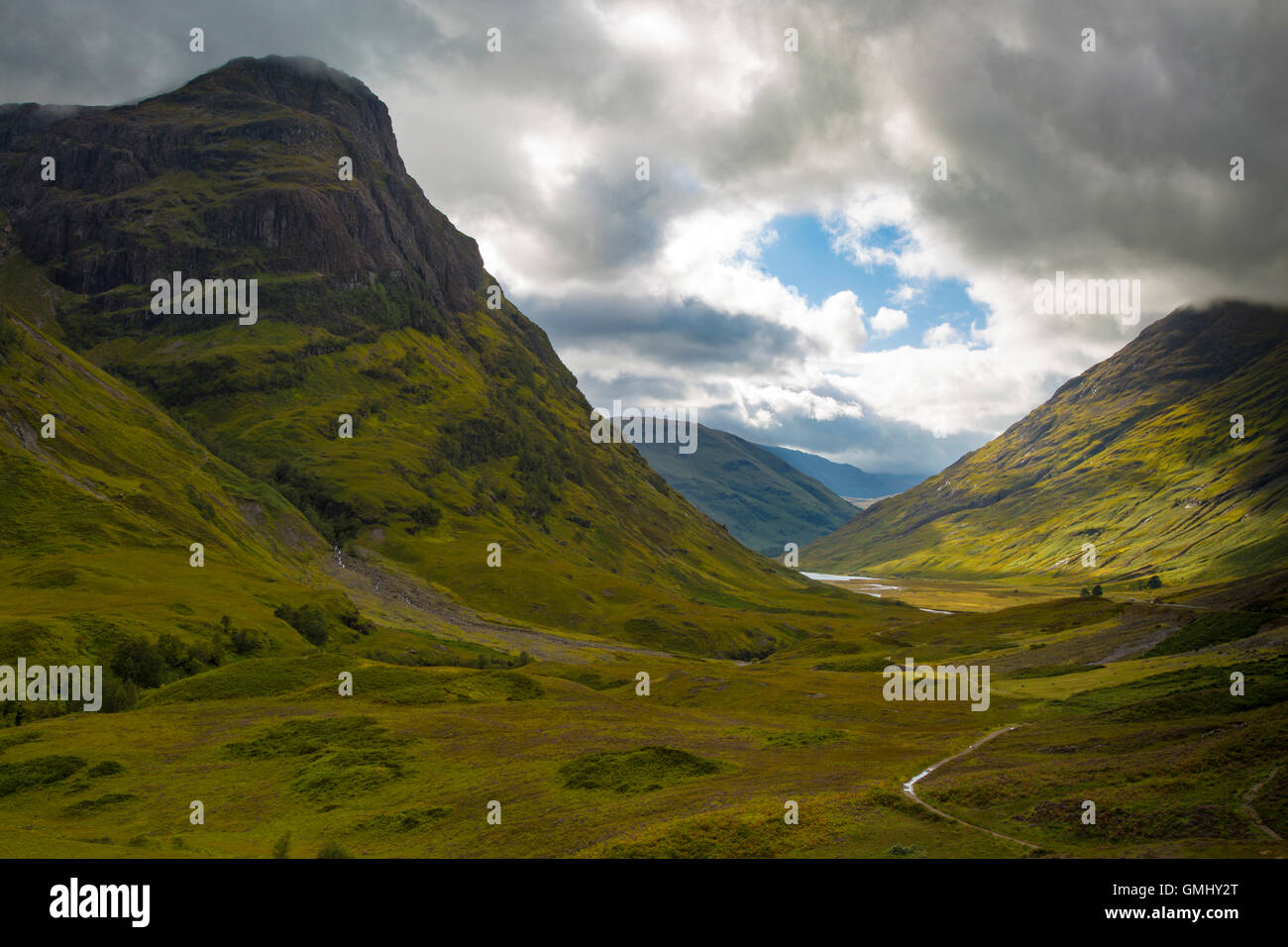 Valley view below the mountains of Glencoe, Lochaber, HIghlands, Scotland - Stock Image