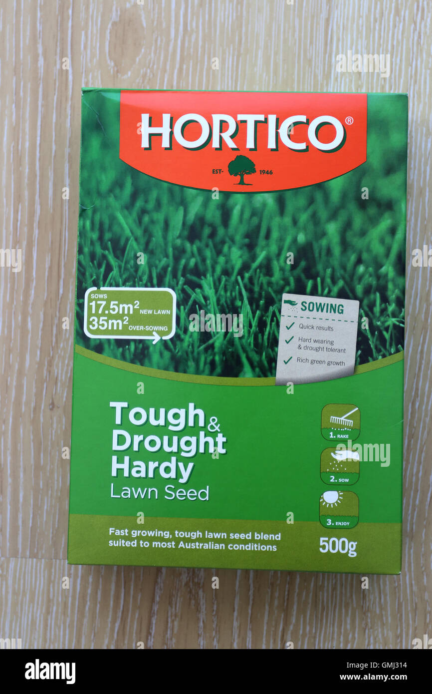 Hortico grass seeds in a box - Stock Image