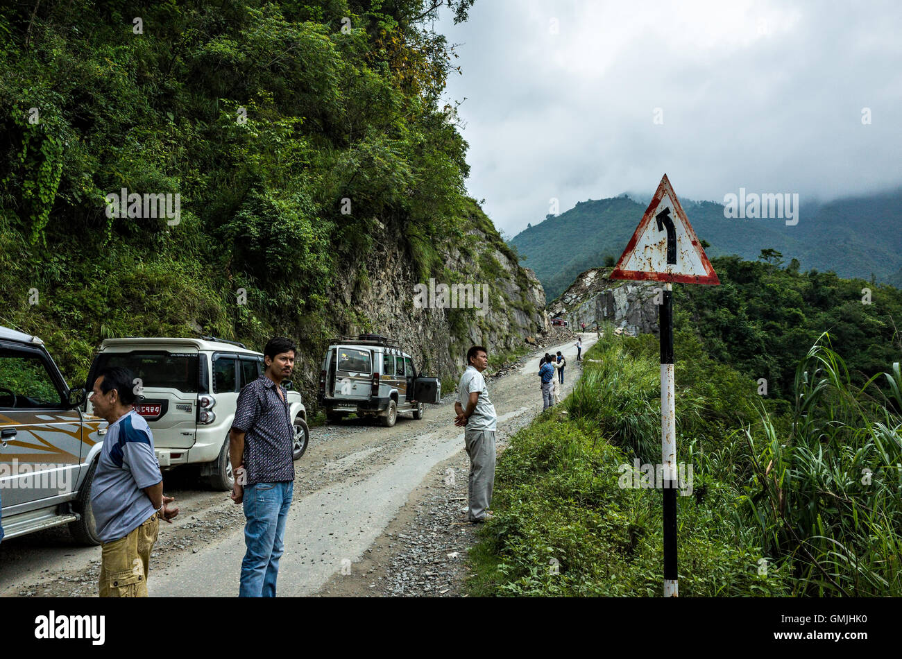 people stuck on the way to kathmandu due to road construction Stock Photo