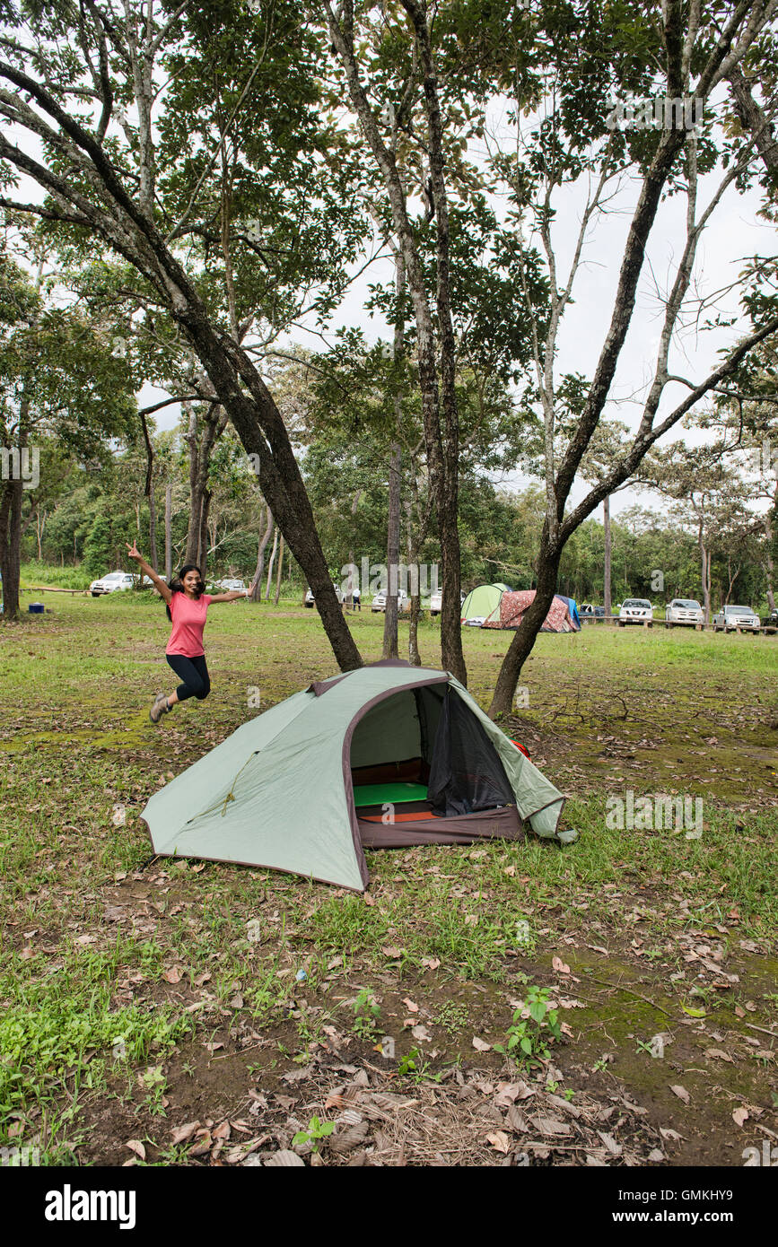 The joys of camping, Sai Thong National Park, Chaiyaphum, Thailand - Stock Image
