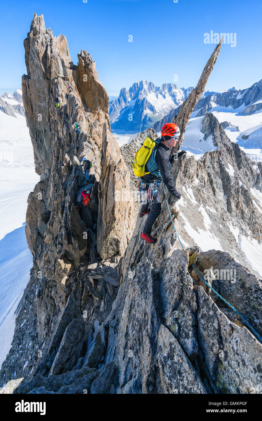 On Aiguille d'Entrèves Traverse, Mont Blanc massive, Courmayeur, Italy, Alps, Europe, EU - Stock Image