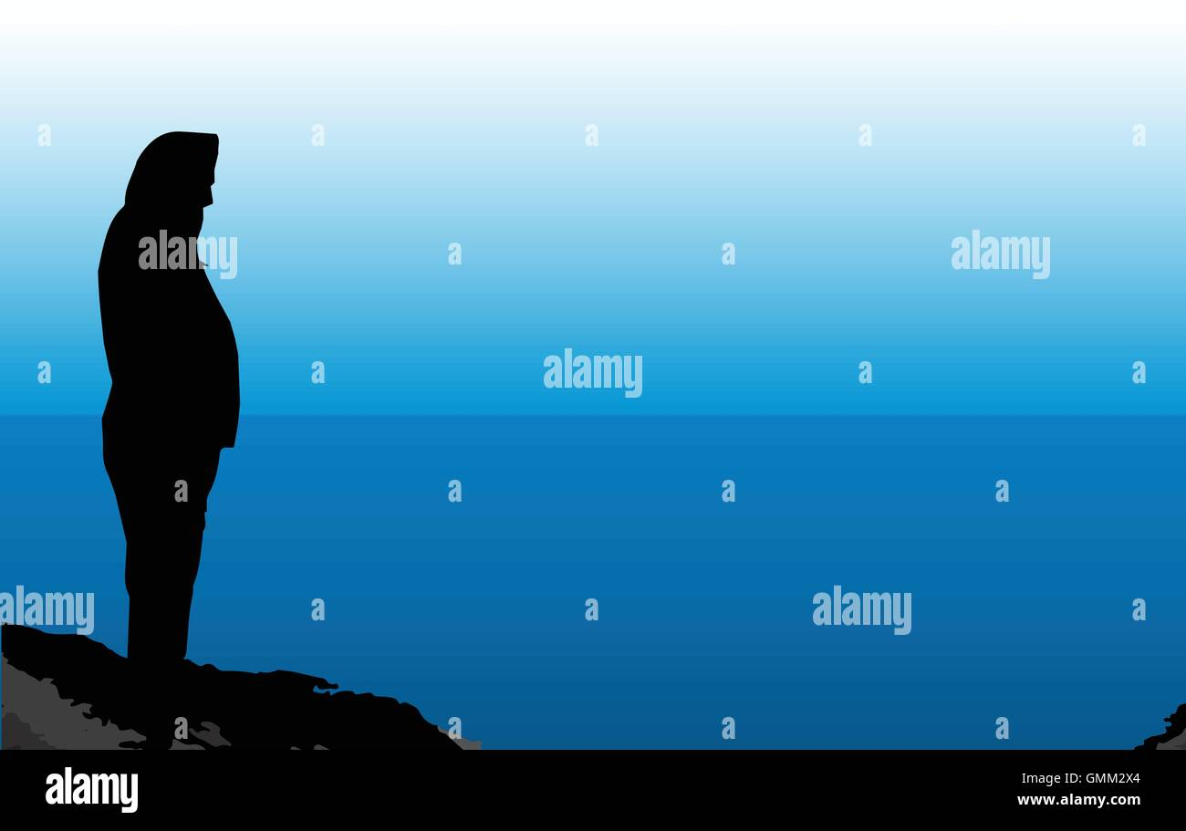 Man On The Shore - Stock Vector