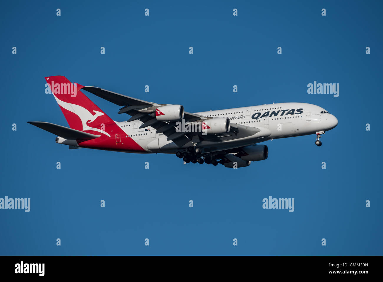 Qantas Airbus A-380 on Final approach to Sydney Airport on Saturday 20 August 2016 - Stock Image