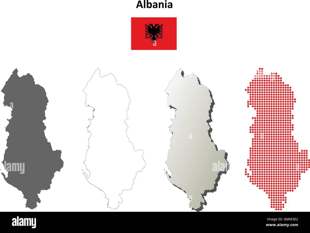 Albania outline map set - Stock Vector
