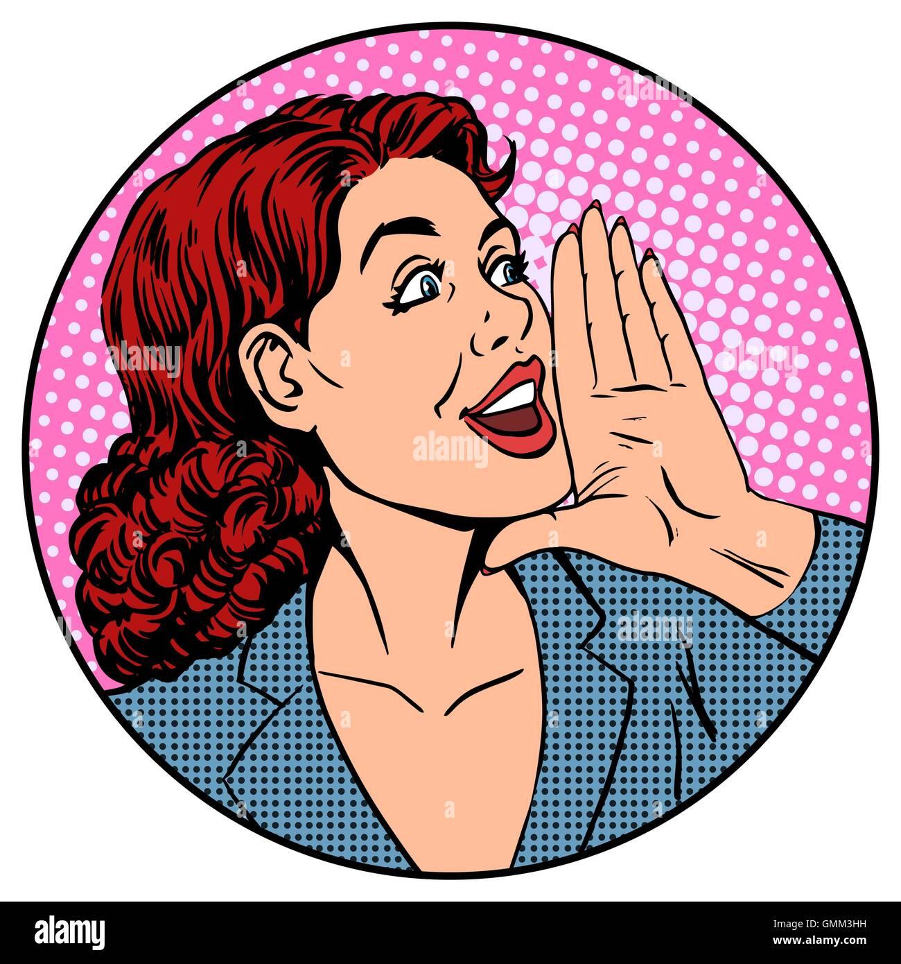 Woman businesswoman calling advertises agitates - Stock Vector