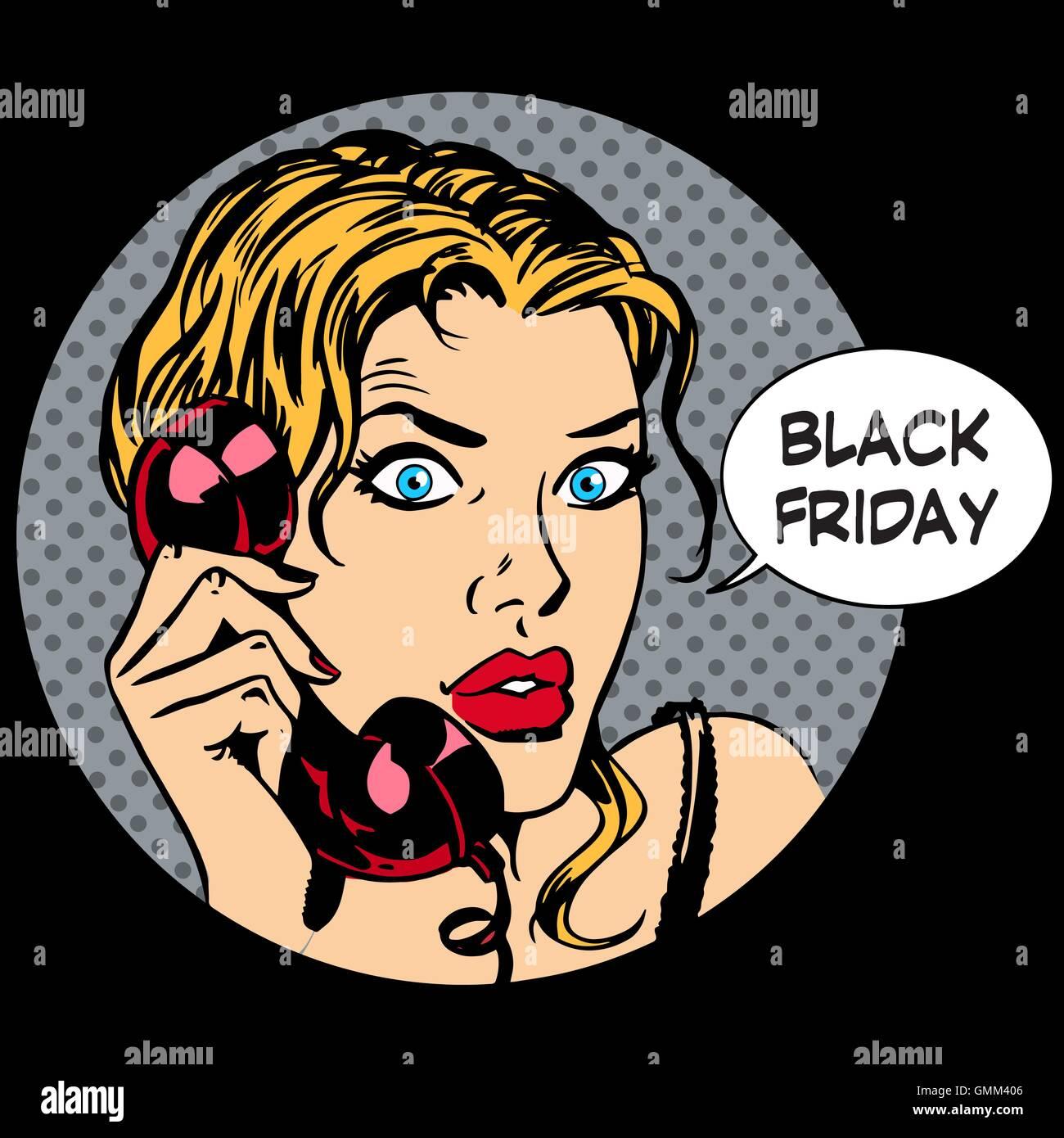 Black Friday woman phone communication - Stock Vector