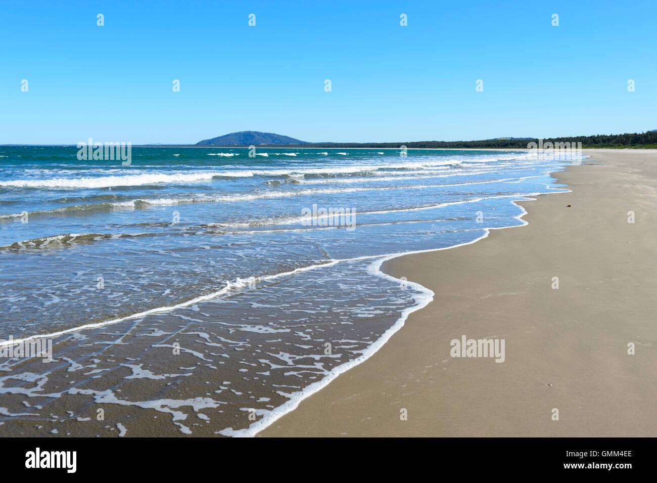 The deserted sandy beach of Seven Mile Beach, Gerroa, Illawarra Coast, New South Wales, Australia - Stock Image