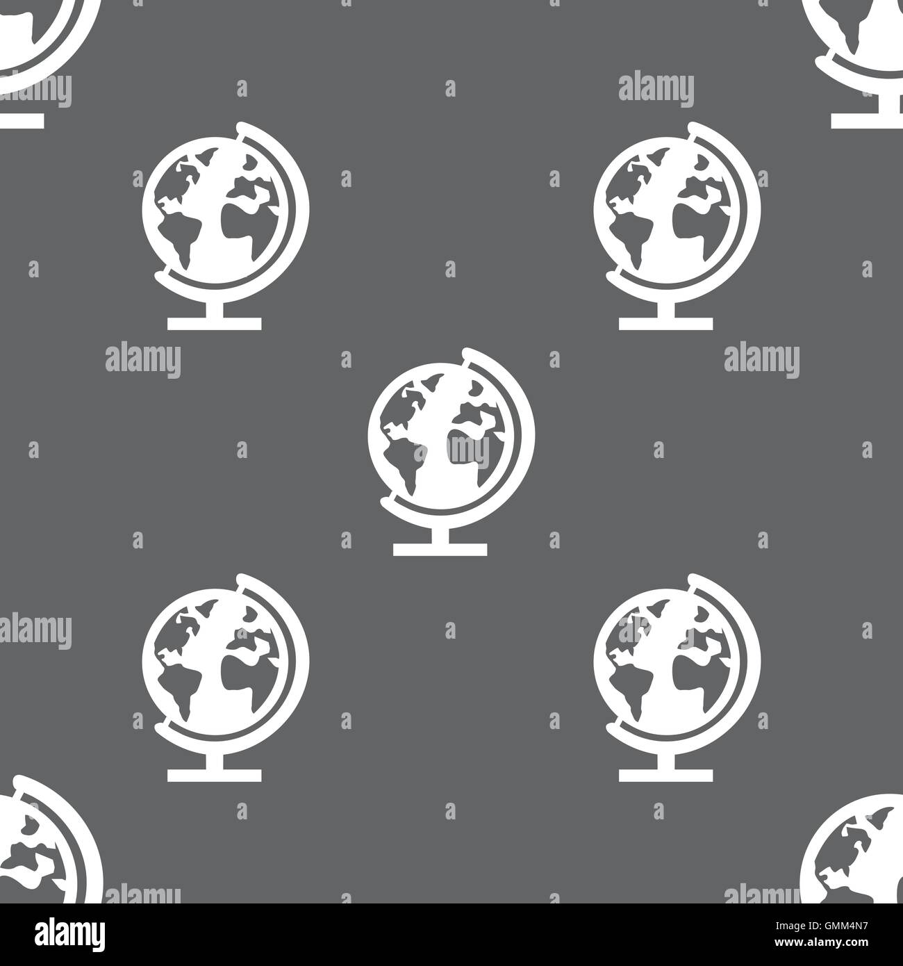 Globe sign icon world map geography symbol globes on stand for globe sign icon world map geography symbol globes on stand for studying seamless pattern on a gray background vector gumiabroncs Image collections