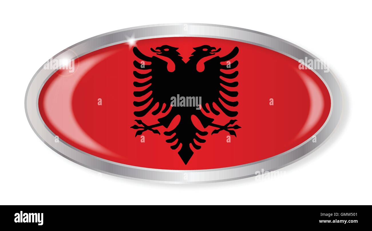 Albanian Flag Oval Button - Stock Image
