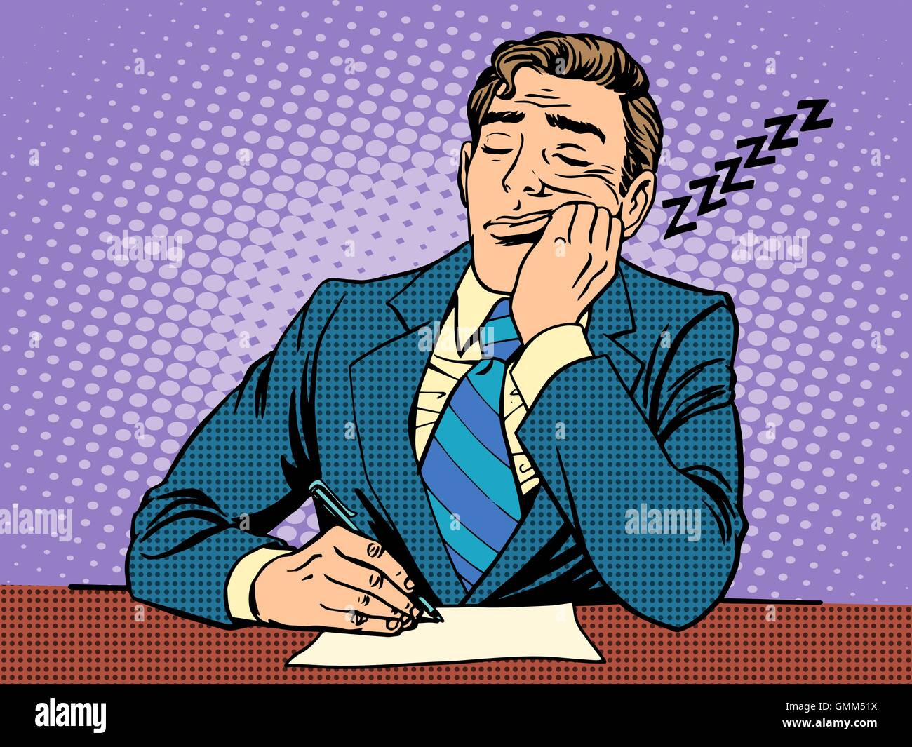 Boring report. A man fell asleep on lectures - Stock Vector