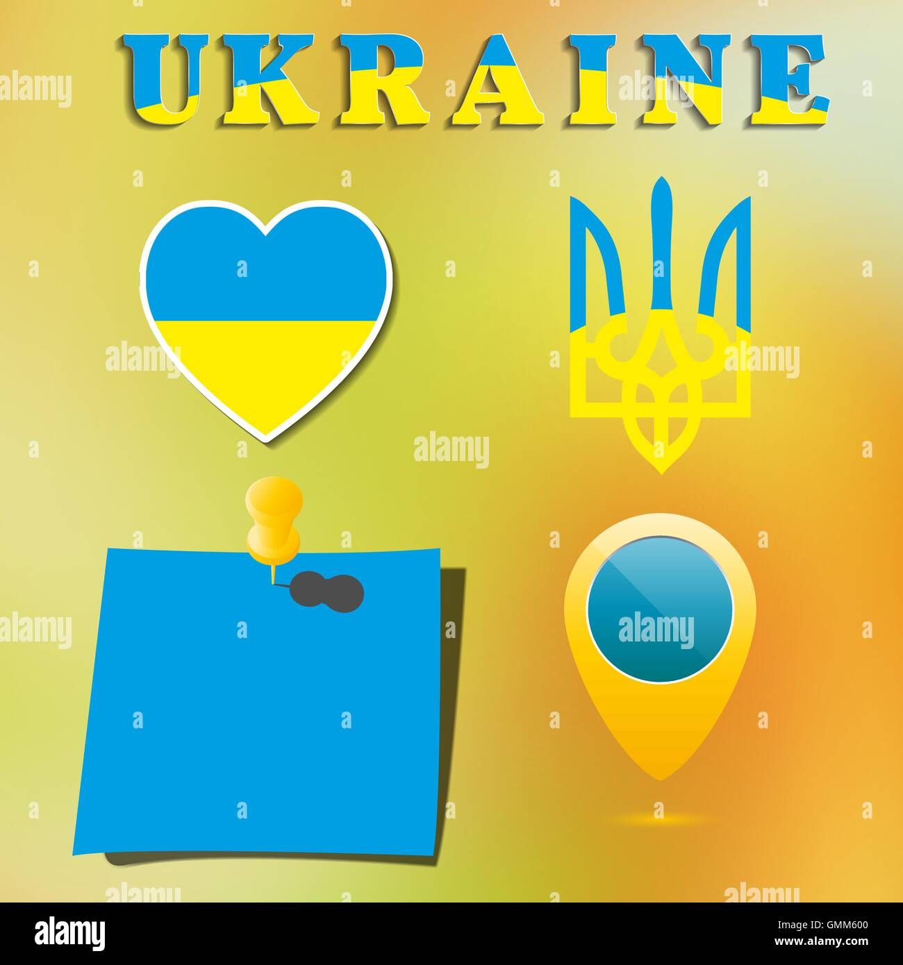 Set Ukrainian symbolism, vector illustration - Stock Image