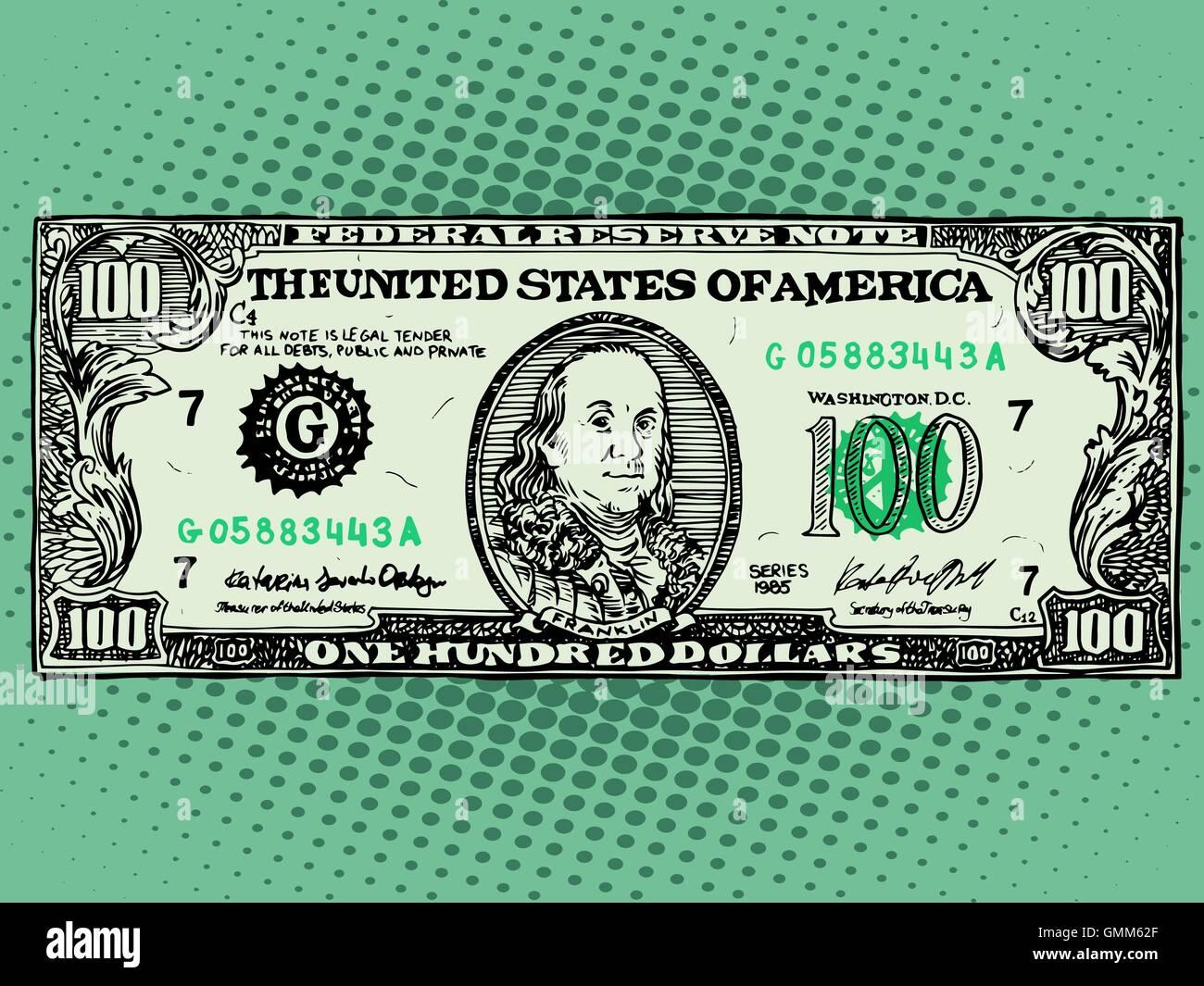 Banknote hundred dollars Benjamin Franklin - Stock Vector