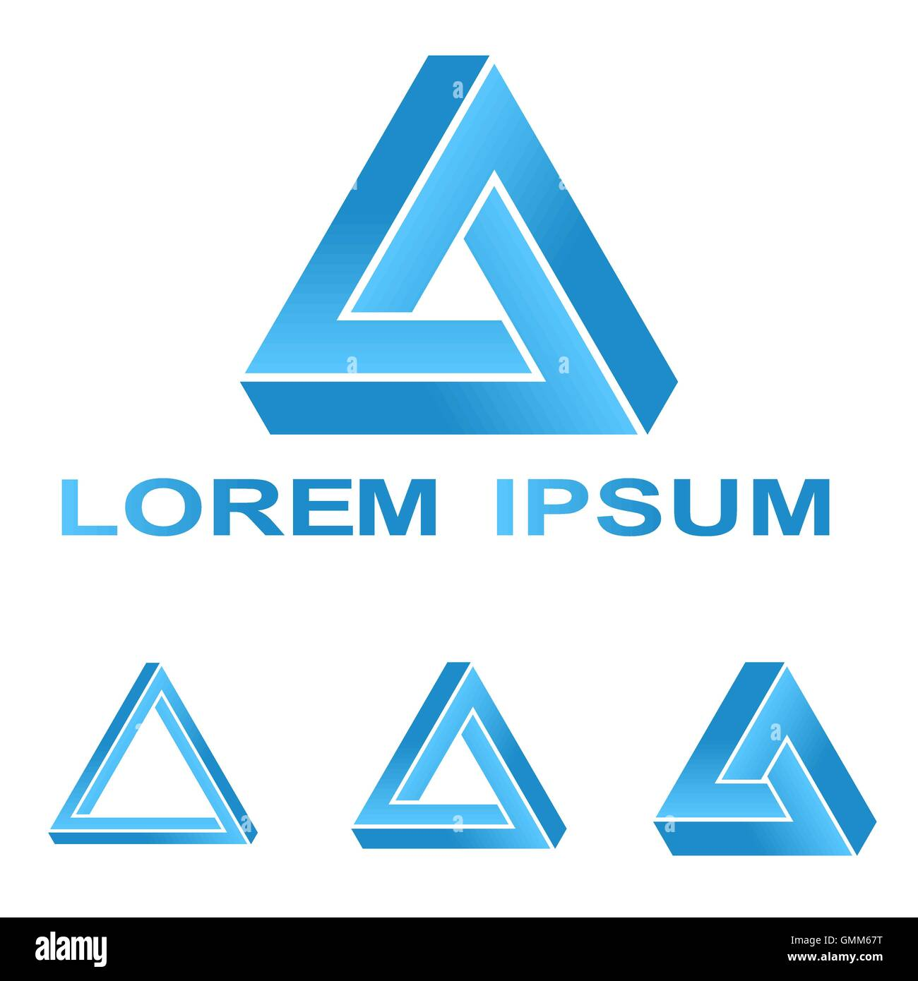 Blue Penrose Triangle Technology Company Symbol Set Stock Vector Art