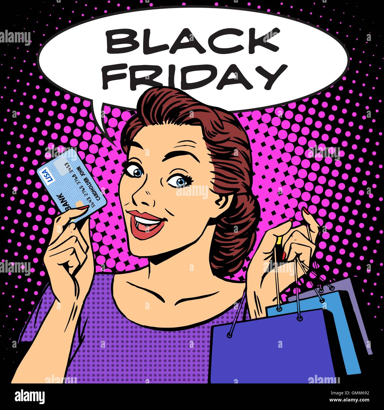Black Friday woman with business card discounts - Stock Vector