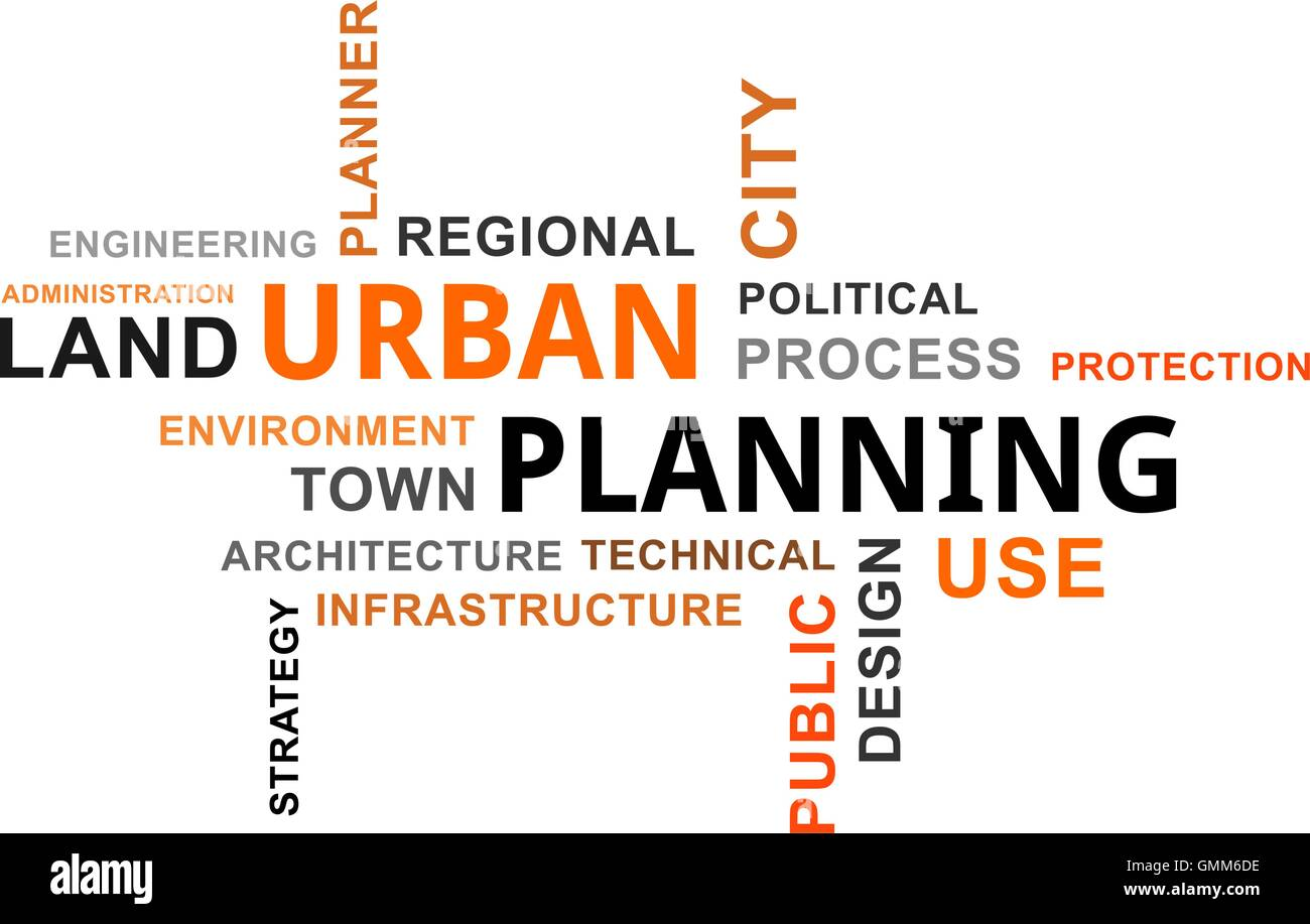 word cloud - urban planning - Stock Image