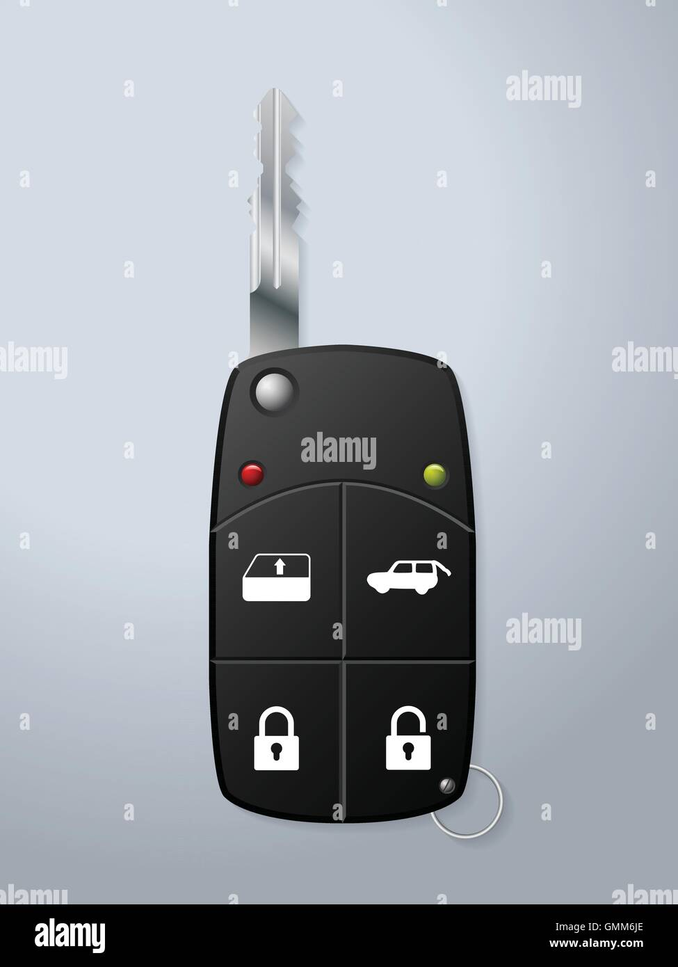 Car key with remote security functions - Stock Vector