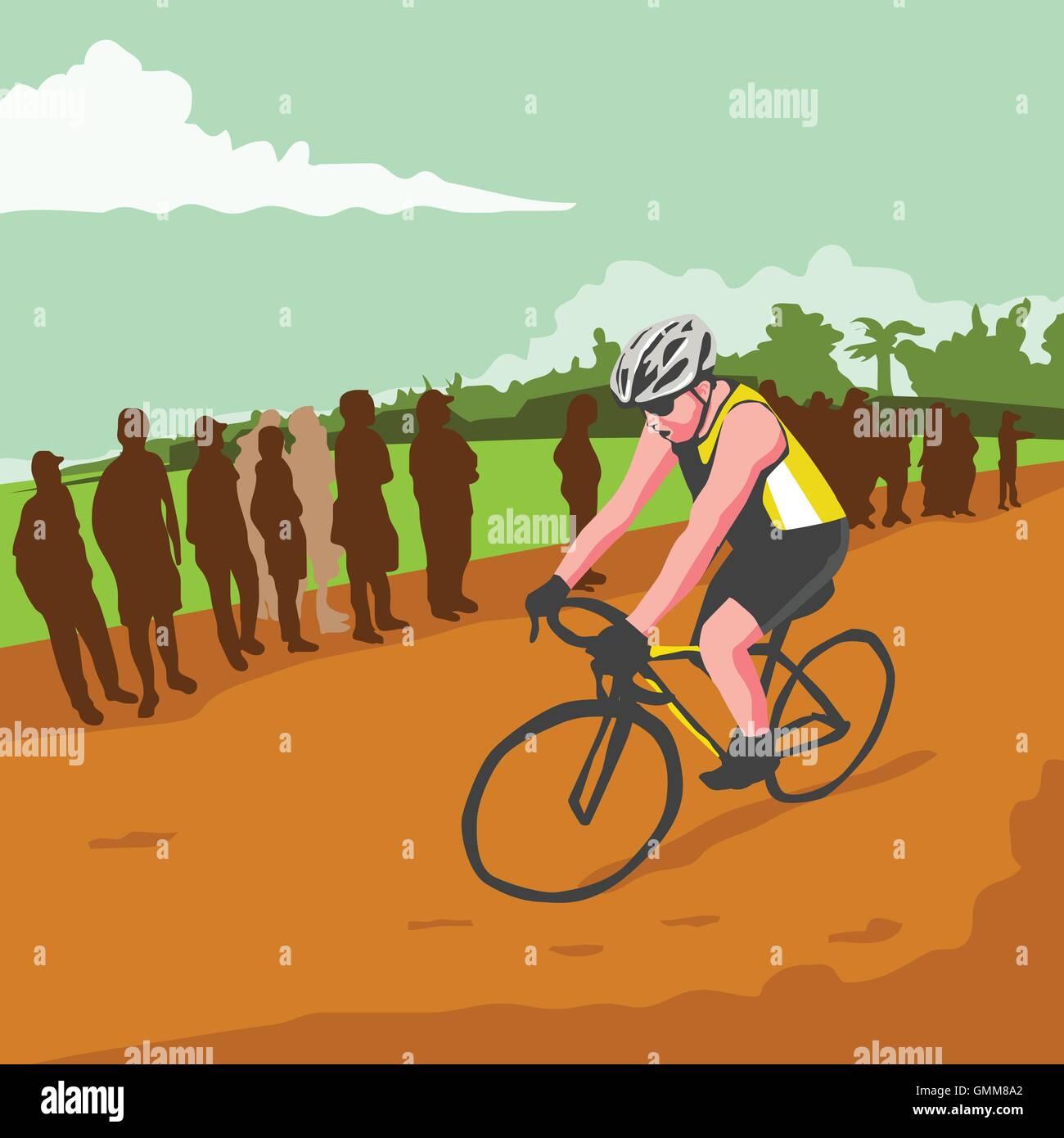 Cyclist Racing WPA - Stock Vector