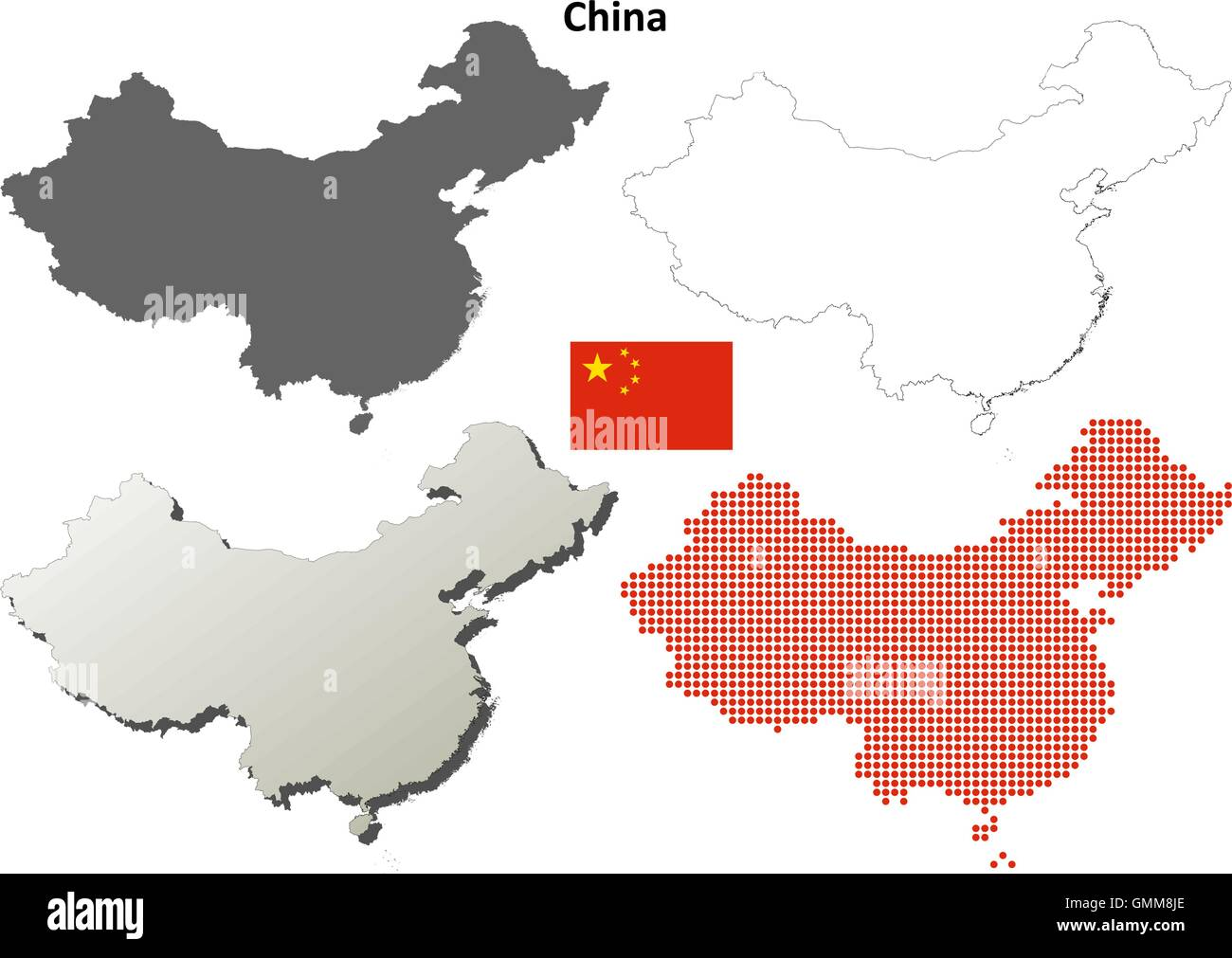China outline map set - Stock Image