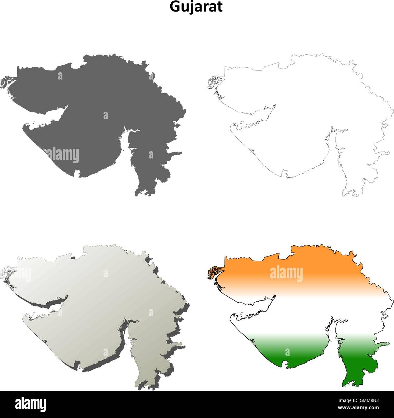 Gujarat blank detailed outline map set Stock Vector Art ...