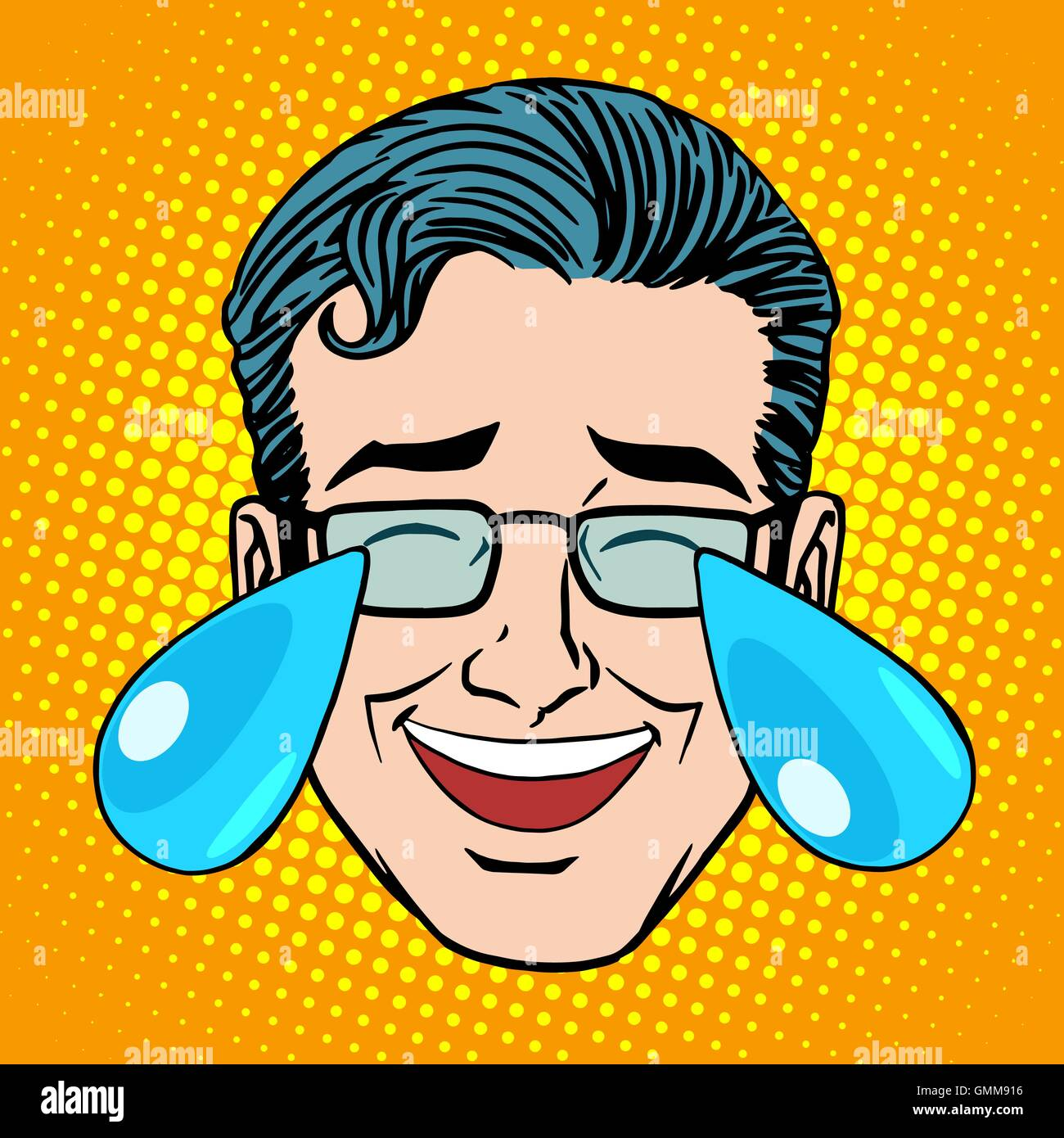 Retro Emoji tears joy man face - Stock Image