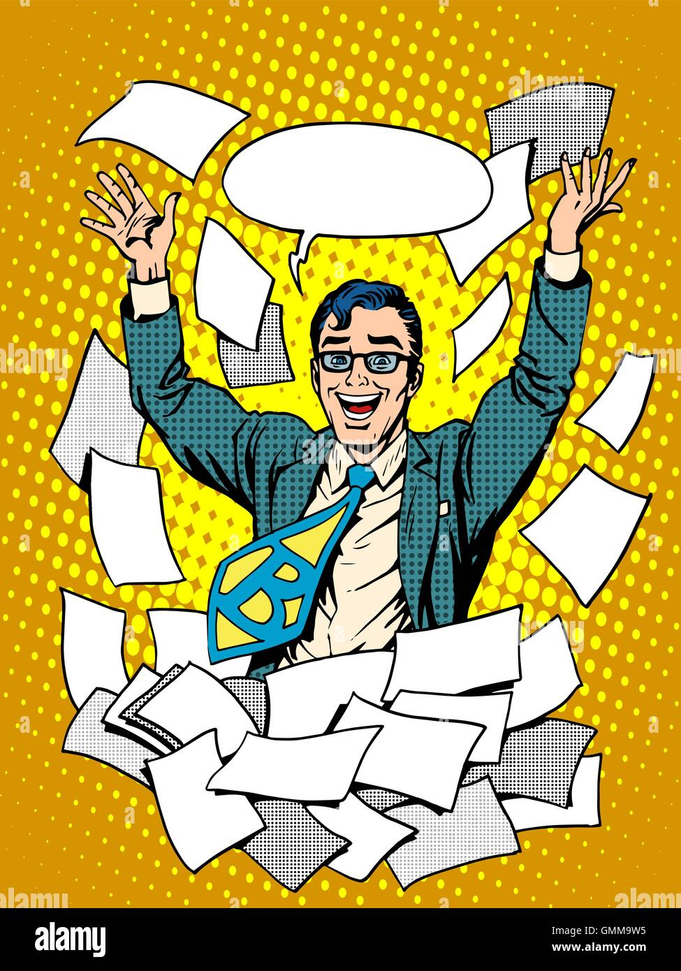 Business success happy businessman among the papers - Stock Vector