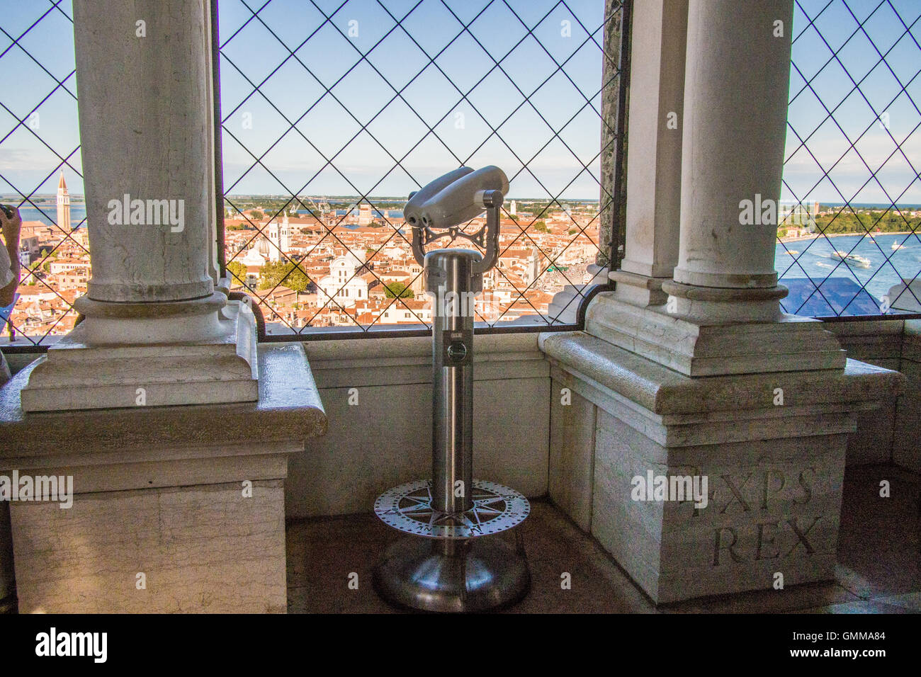 View from the Campanile (Bell Tower) in St Marks Square, Venice, Veneto province, Italy. Giudecca canal is on the - Stock Image