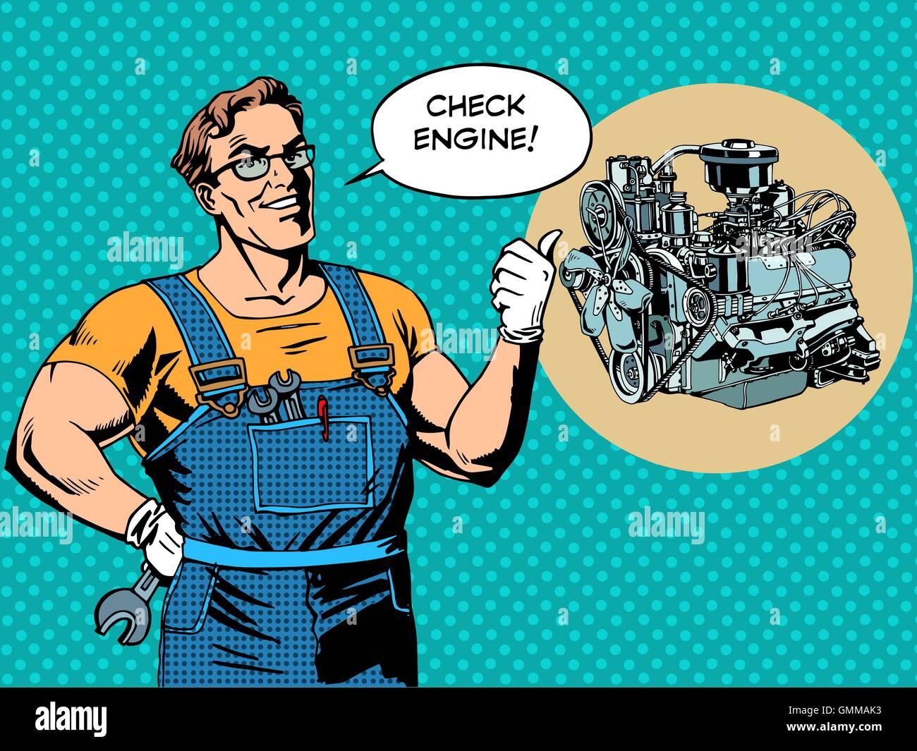 Fun mechanic check engine repair car - Stock Vector