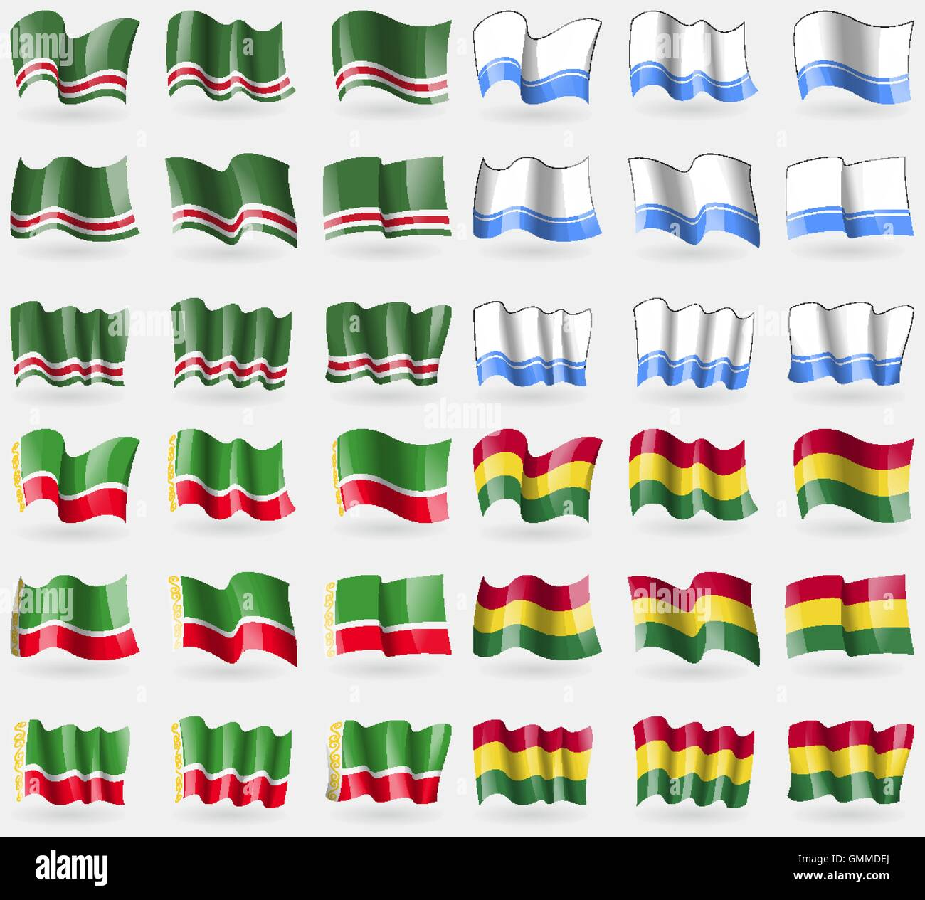Chechen Republic of Ichkeria, Altai Republic, Chechen Republic, Bolivia. Set of 36 flags of the countries of the - Stock Image