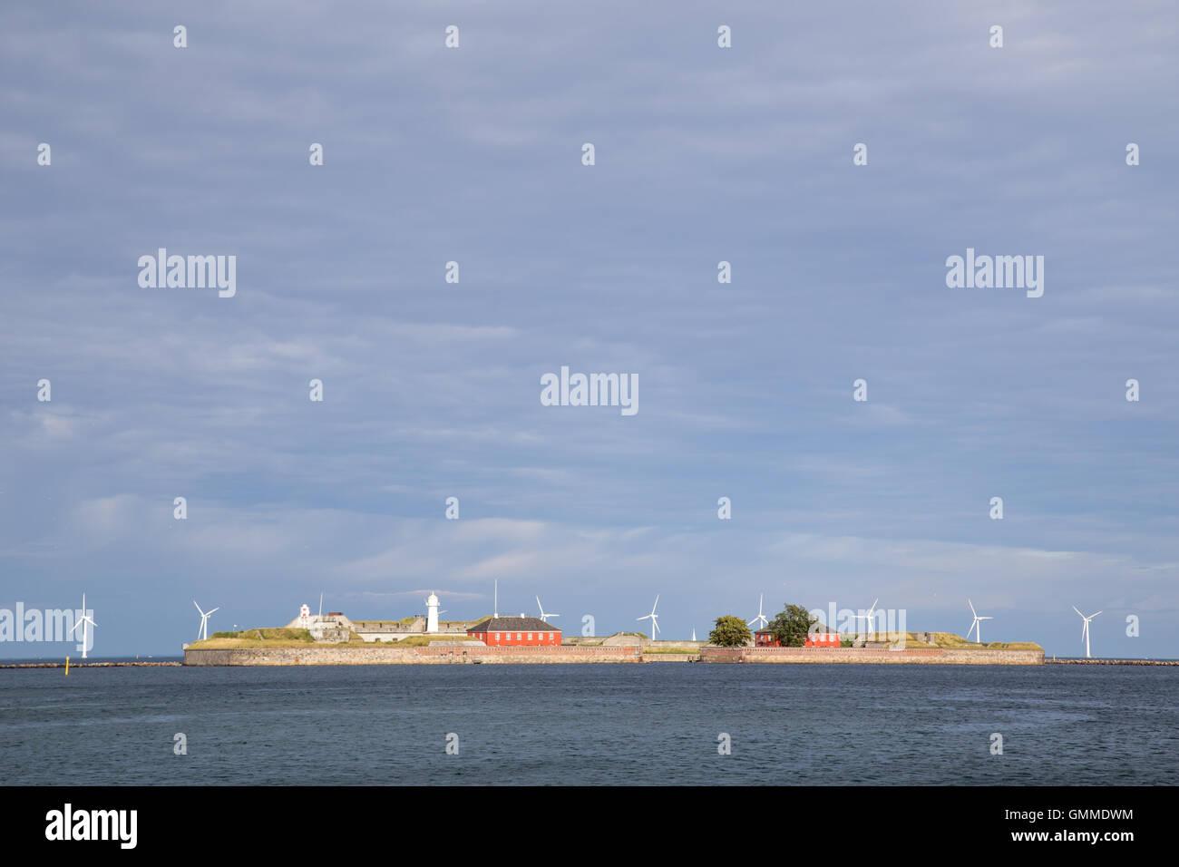 Copenhagen, Denmark - August 17, 2016: View of Trekroner fort at the entrance of Copenhagen harbour Stock Photo