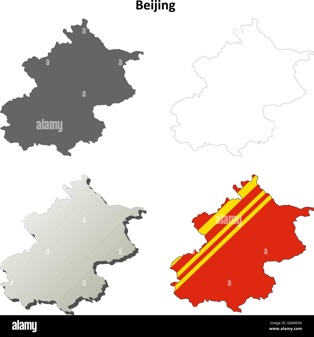 Beijing blank outline map set - Stock Image